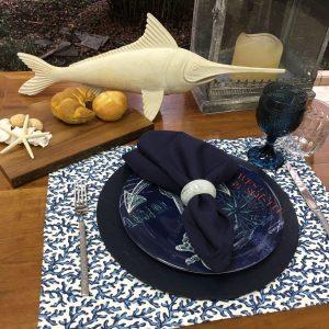 Jogo Americano Normandie Coral Azul