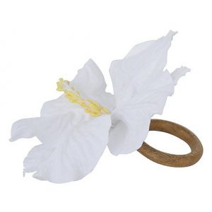 Porta Guardanapo Hibisco Off White
