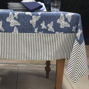 Toalha De Mesa Quadrada Borboleta Azul 1,40