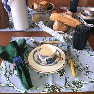 Jogo Americano Simples Oriental Azul e Verde